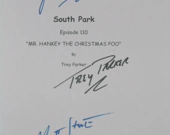 South Park Signed TV Screenplay Script X3 Autograph Mr. Hankey the Christmas Poo Isaac Hayes Trey Parker Matt Stone signature