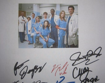 Grey's Anatomy Signed TV Script Screenplay Train Autographs Sandra Oh Patrick Dempsey Katherine Heigl Knight Justine Chambers Ellen Pompeo