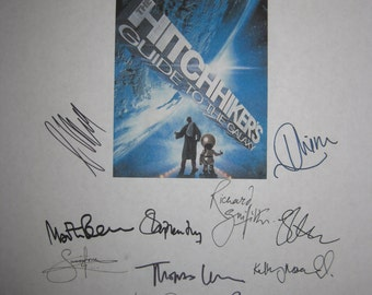 The Hitchhikers Guide to the Galaxy Signed Film Movie Script Screenplay x18 Autographs Zooey Deschanel Martin FreemanJohn Malkovich Mos Def