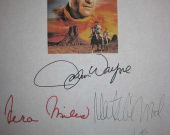 The Searchers Signed Film Movie Screenplay Script X5 Autographs John Wayne Jeffrey Hunter Vera Miles Ward Bond Natalie Wood Classic Western
