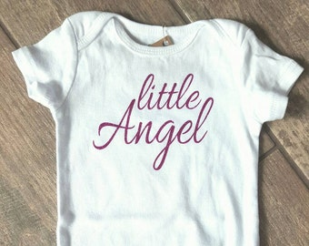 SALE - Reg. 18 dollars - Little Angel - baby girl bodysuit - baby accessories - size 9 months