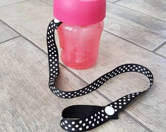 SALE - Reg 5.50 dollars plus FREE shipping in Canada - Handmade sippy cup saver - gender neutral - ribbon strap - baby accessories