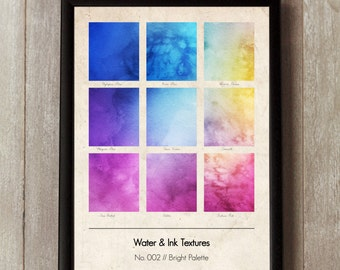 Water & Ink Graphic Design Print 2 - Vintage texture - Bright Palette - Watercolor Wall Art - Gift Ideas - Interiors - Wall Art - Pantone