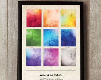 Water & Ink Graphic Design Print 3 - Vintage texture - Rainbow Palette - Watercolor Wall Art - Gift Ideas - Interiors - Wall Art - Pantone