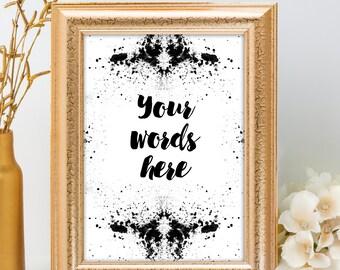 Custom Quote Print, Inkblot Print, Rorschach Art, Custom Print, Monochrome ink, Custom Quote, Bespoke Gift, Personalised Print, Typography