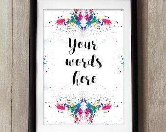 Inkblot Print, Rorschach Art, Custom Quote Print, Custom Print, Custom Order, Custom Quote, Bespoke Gift, Personalised Print, Typography