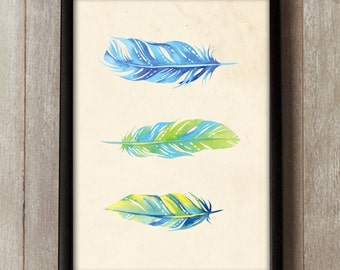 Watercolor Feathers - Graphic Design Print - Feather Poster - Colourful Wall Art - Tropical Feathers Print - Feather Painting
