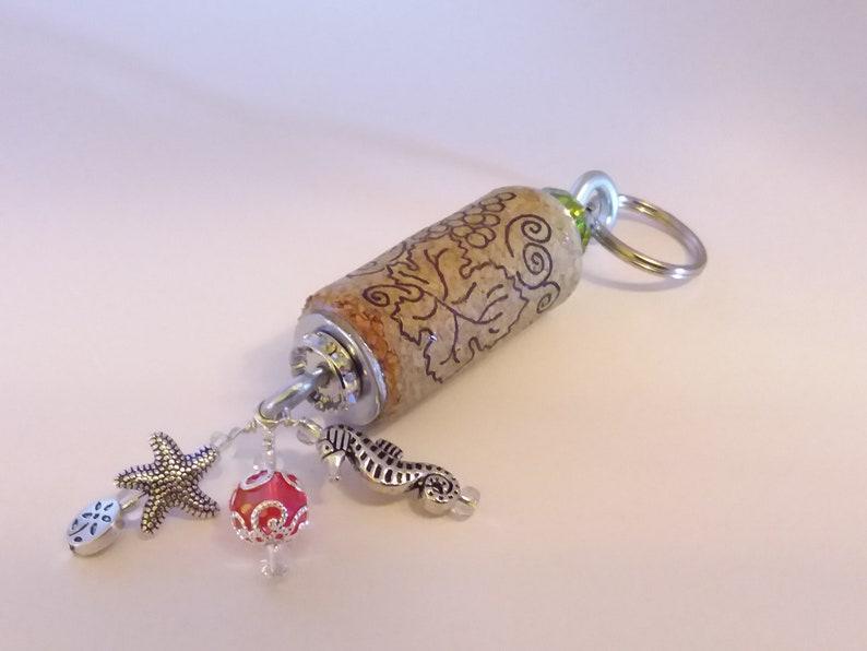 Bridesmaid Gift *Bartender Gift *Teacher Gift Wine Cork Keychain *Oean Theme with Seahorse /& Starfish Charm *Recycled Wine Cork *Wine Gift