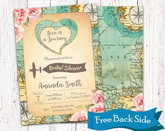 Love Is A Journey Travel Invitation Adventure Vintage World Map Theme Bridal Shower Themed Invite