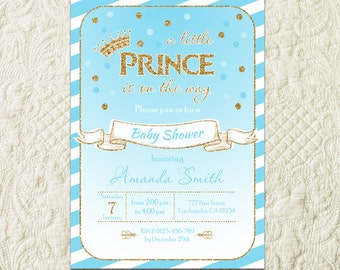 Prince Baby Shower Invitation, Royal Baby Shower Invitation, Gold Glitter Crown Baby Boy Invitation, Our Little Prince Shower Invite