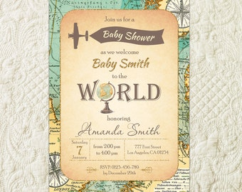 World Baby Shower Invitation, Travel Baby Shower Invitation, Map Baby Shower Invitation, Welcome To The World Baby Shower, Adventure Awaits