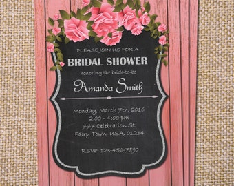 Rustic Bridal Shower Invitation, Chalkboard Invitation, Wedding Shower, Pink Bridal Shower, Wood Bridal Shower, Pink Rose Bridal Wedding