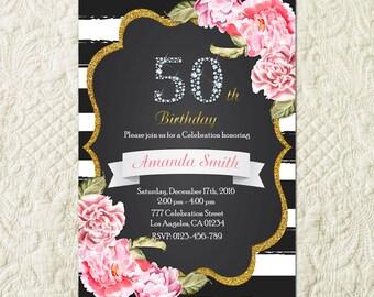 50th Birthday Invitation, 50th Birthday Invitation For Women, Fifty And Fabulous invitation, 50 And Fabulous Invitation, Golden 50 Invite