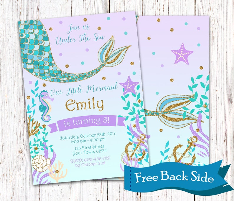 Mermaid Tail Birthday Party Invitation Teal And Purple Gold