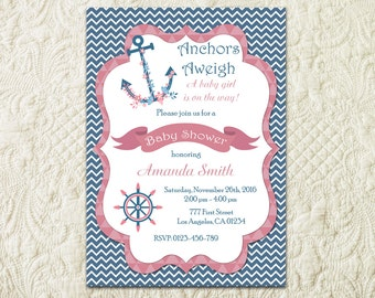Girl Nautical Baby Shower Invitation, Pink and Navy Chevron Baby Shower Invitation, Anchor Baby Shower Invitation, Girl Nautical Invite