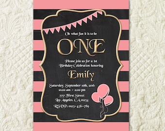 Pink And Gold Invitation, 1st Birthday Invitation, Girl Birthday Invitation, Chalkboard Birthday Invite, Kids Birthday Invite, Girls Invite