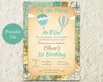Oh The Places You'll Go Boy First 1st Birthday Invitation, Hot Air Balloon Boy 1st First Birthday Invitation, Around The World Map Birthday