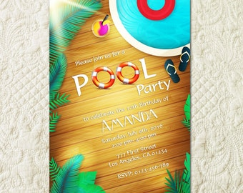 Pool Party Invitation, Pool Party Invite, Pool Birthday Party, Summer Birthday Party, Kids Pool Party, Girl Pool Party, Boy Pool Party
