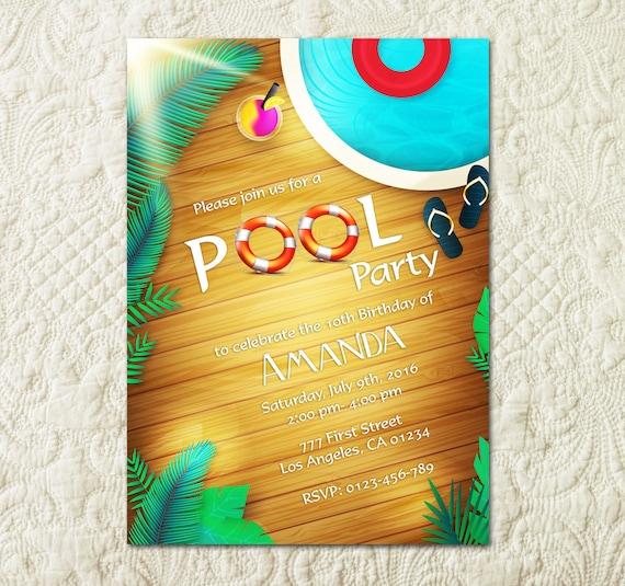 pool party invitation pool party invite pool birthday party etsy