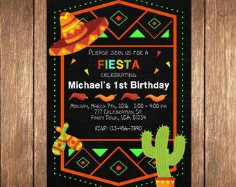 Birthday Mexican Fiesta Party Invitations, Cinco De Mayo Invitation, Fiesta Birthday Party Chalkboard Invitation