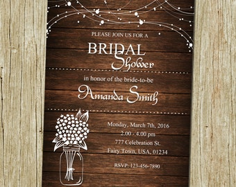 Rustic Bridal Shower Invitation, Rustic Invitation, Mason Jar invitation, Wood Invitation, Flower Invitation, Bridal Shower Invitation