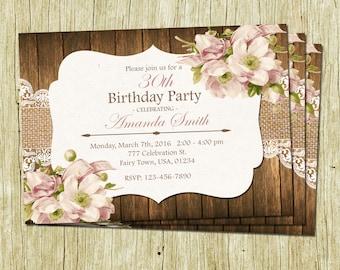 Birthday Invitation For Women, Rustic Lace Burlap Birthday Invitation, Flowers Birthday Invitation, Womens Birthday, Floral Invitation