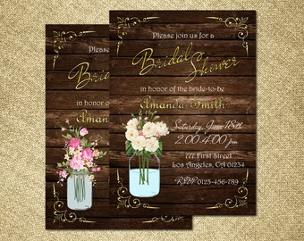 Rustic Bridal Shower Invitation, Mason Jar Bridal Shower Invitation, Country Bridal Shower Invitation, Wood Bridal Shower Invitation