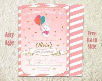 Bunny Birthday Invitation, Easter Bunny Birthday Party Invitation, Some Bunny Invitation, Rabbit Birthday Invitation, Easter Birthday Party