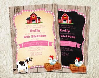 Farm Birthday Party Invitation, Pink Farm Invitation, Girl Farm Invitation, Barnyard Birthday Party Invitation, Farm Animals Invitation