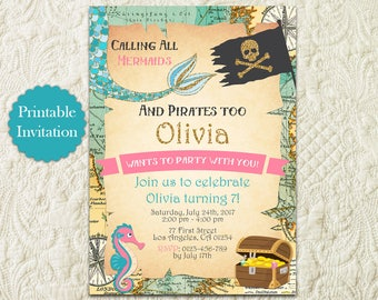 Mermaid And Pirate Birthday Party Invitation, Under The Sea Pool Party Birthday Invitation, Boy Girl Dual Combined Nautical Birthday Invite
