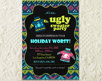 Printable ugly Sweater Party Invitation, Holiday Worst invitation, Ugly Sweater Invitations, Ugly Sweater Christmas Holiday Party Invite