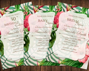 Tropical Invitation, Tropical Invite, Tropical Party, Tropical Shower, Flowers Invitation, Summer Party Invitation, Floral Invititation