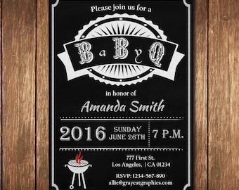 BBQ Baby Shower Invitation, Baby-Q Shower Invitation, Chalkboard Co-ed Baby Shower Invite, Babyque, Bbq, Grill Invitation, Baby shower