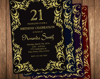 Birthday Invitation For Women, Adult Birthday Invitation, Elegant Birthday Invitation, Gold Glitter Invitation, Black And Gold Party Invite