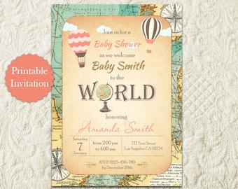 Hot Air Balloon Travel Baby Shower Invitation, Around The World Baby Shower Invitation, Map Globe Adventure Awaits Baby Shower Invitation