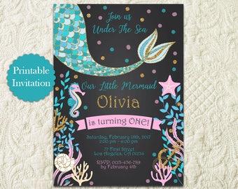 Chalkboard Mermaid Birthday Invitation, Chalkboard Under The Sea Birthday Pool Party Invitation, Gold Glitter Purple Teal Mermaid Invite
