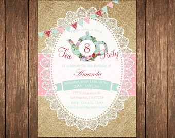 Tea Party Invitation, Birthday Tea Party, Shabby Chic Invitation, Girl Birthday, Tea Party Invite, Burlap Birthday, Girls Tea Party