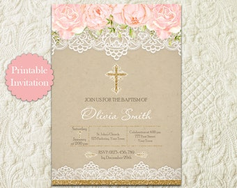Pink And Gold Glitter Floral Watercolor Flower Girl Baptism Christening First Communion Dedication Printable Invitation Invite
