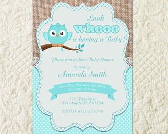 Owl Boy Baby Shower Invitation, Woodland Boy Baby Shower Invitation, Blue Teal Owl Invitation, Boy Owl Invitation, Boy Owl Shower Invite
