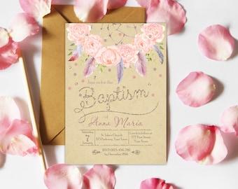 Tribal Baptism Invitation, Boho Baptism Invitation, Rustic Baptism Invitation, Girl Christening Invite, Watercolor Floral Feather Baptism