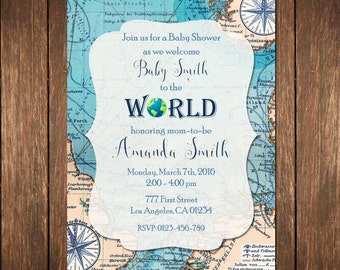 Welcome To The World Baby Shower, World Baby Shower, Map Shower Invitation, Baby Shower Invitation, Baby Girl Shower, Baby Boy Shower