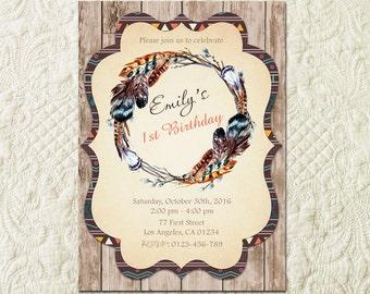 Feather Birthday Invitation, Boho Birthday Invitation, Tribal Birthday Invitation, Aztec Invitation, Bohemian Invitation, Rustic Wood Invite