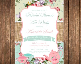 Bridal Shower Tea Party, Bridal Tea Invite, Tea Party Invitation, Shabby Chic Bridal Shower, Vintage Bridal Shower, Floral Bridal Shower