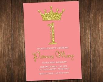 Princess Invitation, Princess Birthday Invitation, Girl Birthday Invitation, Printable Princess Invitation, 1st Birthday Invitation
