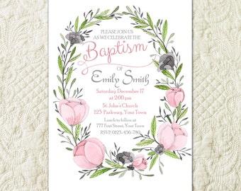 Floral Baptism Invitation, Flower Baptism Invitation, Girl First Communion Invitation, Religious Invitation, Girl Christening Invite