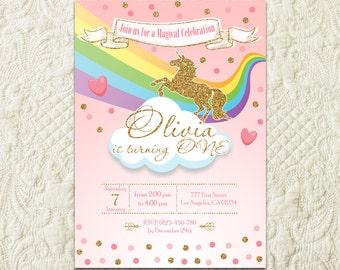 Rainbow Unicorn Birthday Invitation, Unicorn Magical Party Invitation, Rainbow Unicorn Birthday Party Invite, Pink And Gold Unicorn Invite