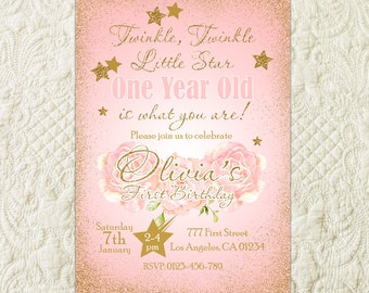 Twinkle Twinkle Little Star Birthday Invitation, Twinkle Twinkle Little Star First Birthday Party Invite, Star Pink Gold Glitter Invitation