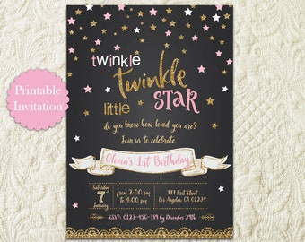 Twinkle Twinkle Little Star Pink and Gold Glitter Chalkboard Birthday Party Printable Invitation, Twinkle Twinkle Birthday Invite