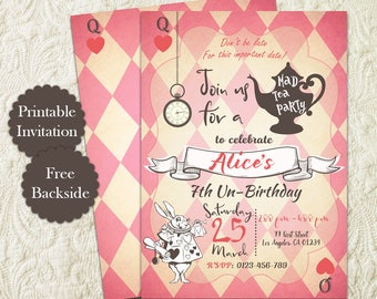 Girl Pink Alice In Wonderland Tea Party Birthday Invitation, White Rabbit Mad Hatter Birthday Tea Party Invitation, Vintage Alice Invite