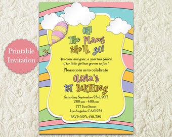 Oh The Places You'll Go Girl First 1st Birthday Invitation, Hot Air Balloon Birthday Invitation, Around The World Travel Birthday Invitation